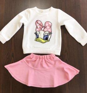 Костюм кофта платье розовая юбка юбочку на девочку