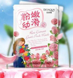 Тканевая маска Bioaqua с экстрактом розы и козьего