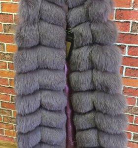 Меховая жилетка песец 90 см