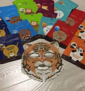 Тканевые маски-мордочки животных! Корея! 🐯🐵🐱🐶