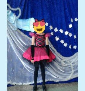 Новогодний костюм кошечка для девочки 7-8лет
