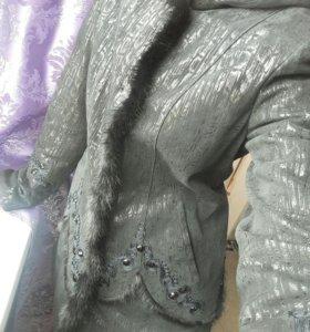 Куртка натуральная кожа норка 46 размер
