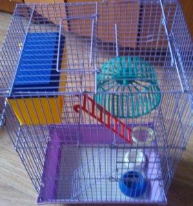 Две клетки для грызунов, инебольшой аквариум(3,5л)