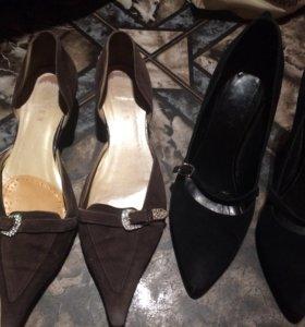 Туфли чёрные и коричневые 38