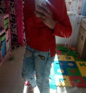 Экокожа блуза красная