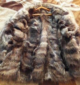 Куртка кожаная, мех натуральный