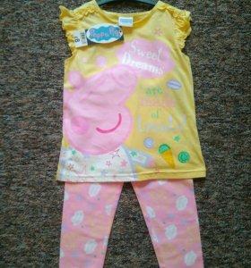 Новая пижама 100%хлопок 3-4года