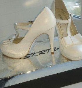 Свадебные туфли, белые, 37, натуральная кожа