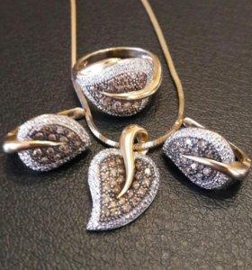 Золотые серьги, кольцо, подвеска
