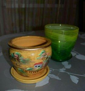 Горшок для цветов глиняный
