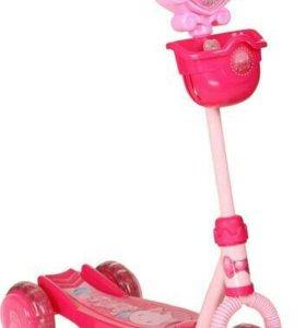 Самокат трёхколёсный розовый