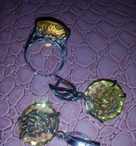 Кольцо р.18.серьги серебро