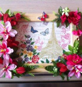 Фото рамки с декором ручной работы