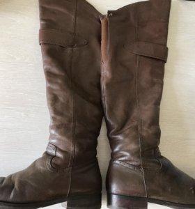 Сапоги ботфорты коричневые натуральная кожа