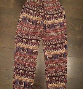 Новые хлопковые брюки на резинке с кулиской