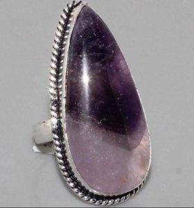 Кольцо женское натуральный камень Аметист серебро