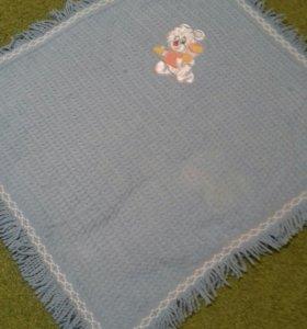 Плед-одеяло детский. Красивый голубой с мишкой.