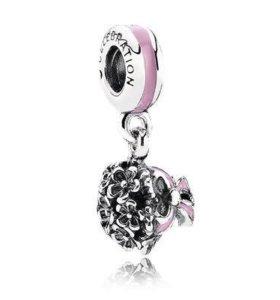"""Pandora Подвеска-шарм из серебра """"Розовый букет"""""""