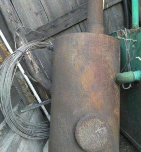 Печь для гаража, для бани с трубой