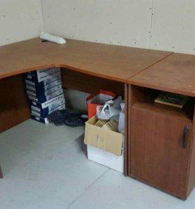 Офисный угловой стол с тумбой б/у
