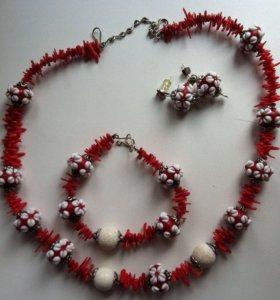 Комплект (колье, браслет, серьги)