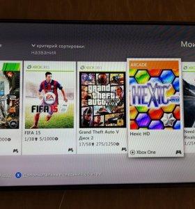 Xbox 360 Slim, прошит, жесткий диск на 250GB