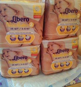 Подгузники libero newborn 2(3-6 кг) 26 штук