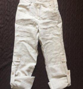 Новые льняные брюки-бриджи