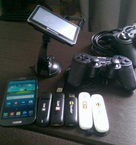 Телефон гелекси с 3, модемы , геймпады , навигатор