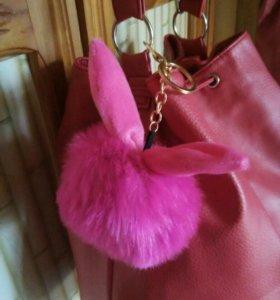 Меховые брелоки на сумку или рюкзак