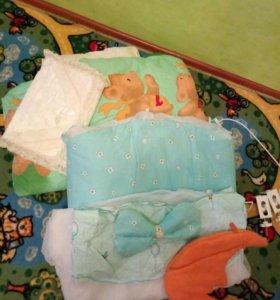 Мягкость, борты в люльку, балдахин, подушка, одеял