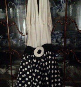 Черно-белое платье в горошек Ю-1 латина