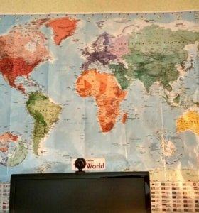Карта мира 100х140