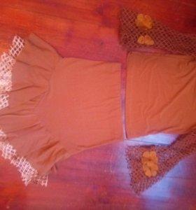 Костюм кофта блузка + юбка М как платье