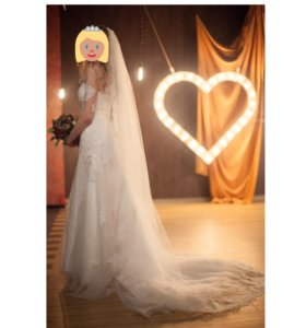 🔥Итальянское свадебное платье и фата со шлейфом
