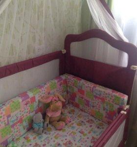 Детская кровать, манеж бортики