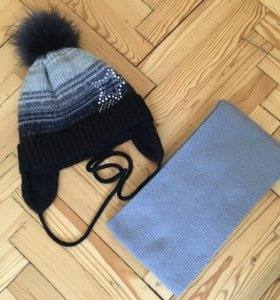 Комплект шапка+шарф на девочку