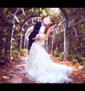 Свадебное платье русалка почти новое