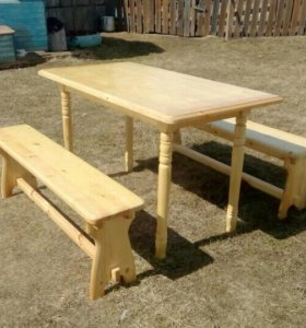 Дачный набор (стол+2 скамейки)
