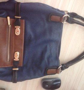 Кожаная сумка синяя/шоколадная/черная