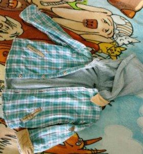 Рубашка с капюшоном на 2-3 годика