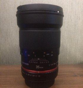 Samyang 35mm 1,4 AS UMC for Canon+ два ND-фильтра