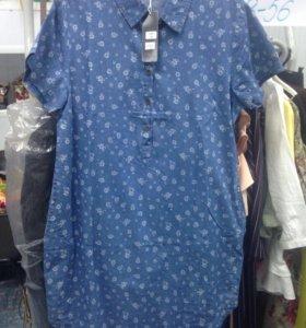 Платье рубашка деним