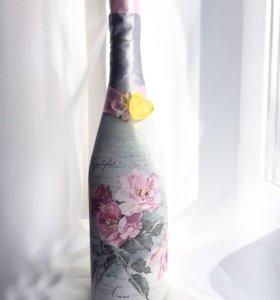 Свадебный декор, декупаж свечей, бутылок, бокалов