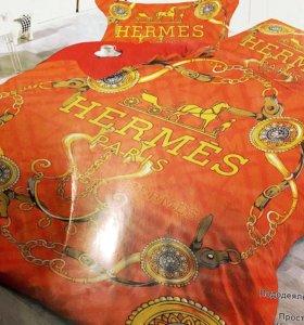 Евро постельное белье Hermes 💛