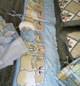 Бортик в детскую кроватку и балдахин