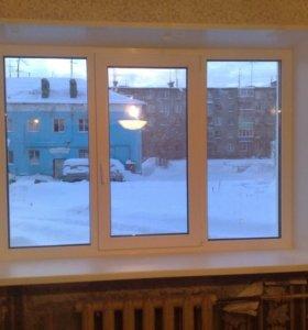 Трехстворчатое окно в кирпичный дом