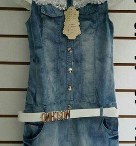 Платье- туника джинсовое с кружевом
