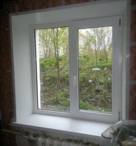 Двухстворчатое окно в кирпичный дом