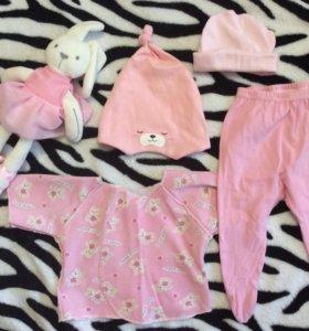 шапочки ползунки распашонка для малышки одежда